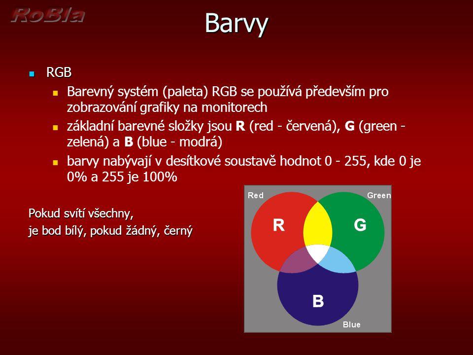 Barvy RGB. Barevný systém (paleta) RGB se používá především pro zobrazování grafiky na monitorech.