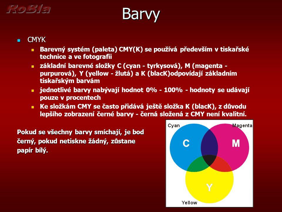 Barvy CMYK. Barevný systém (paleta) CMY(K) se používá především v tiskařské technice a ve fotografii.