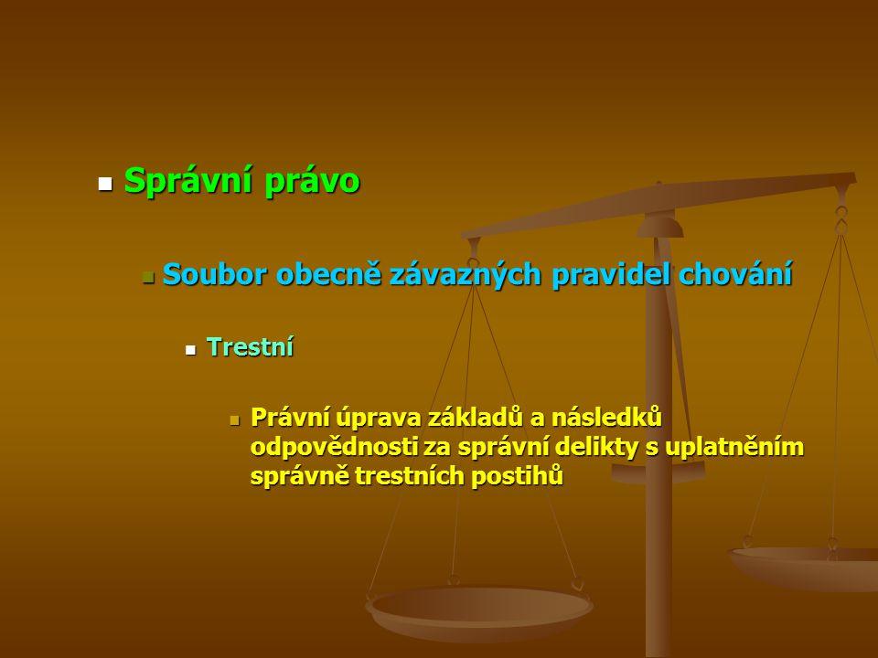 Správní právo Soubor obecně závazných pravidel chování Trestní