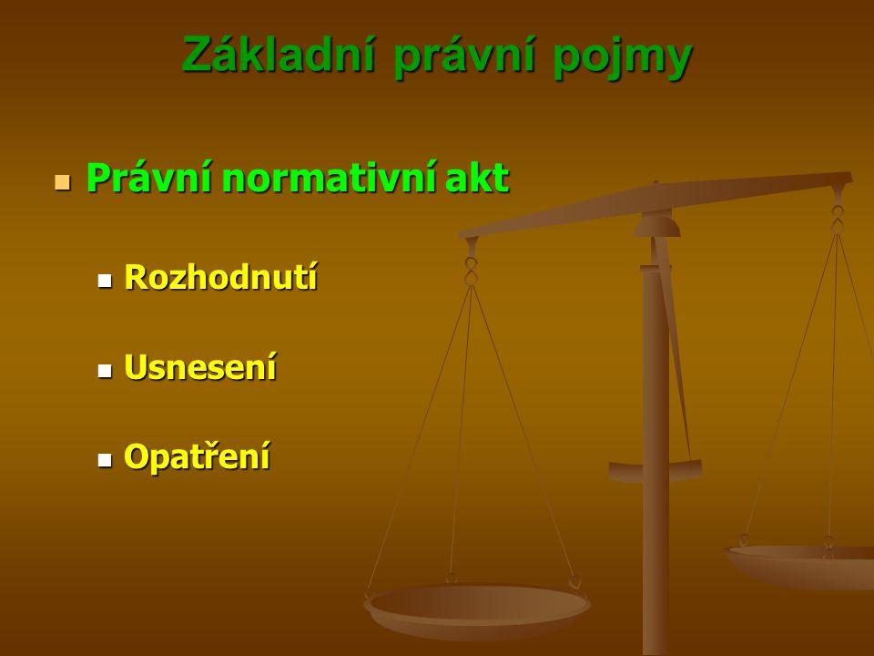 Základní právní pojmy Právní normativní akt Rozhodnutí Usnesení