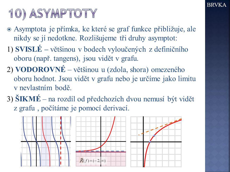 BRVKA 10) asymptoty. Asymptota je přímka, ke které se graf funkce přibližuje, ale nikdy se jí nedotkne. Rozlišujeme tři druhy asymptot: