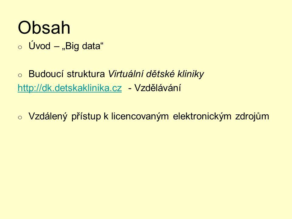 """Obsah Úvod – """"Big data Budoucí struktura Virtuální dětské kliniky"""