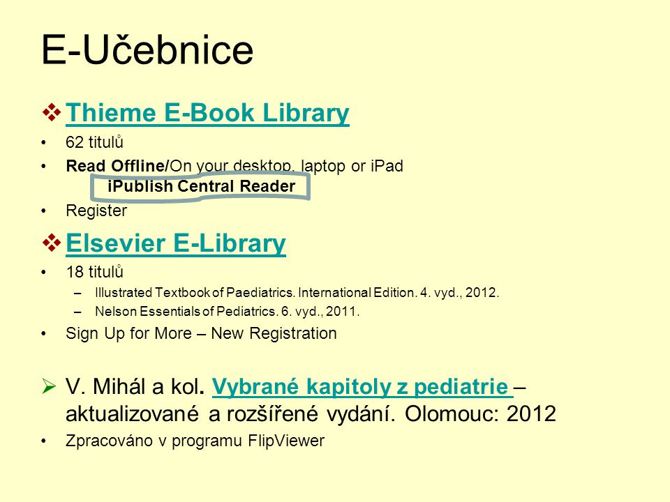 E-Učebnice Thieme E-Book Library Elsevier E-Library