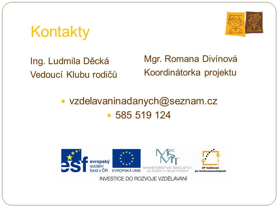 Kontakty vzdelavaninadanych@seznam.cz 585 519 124