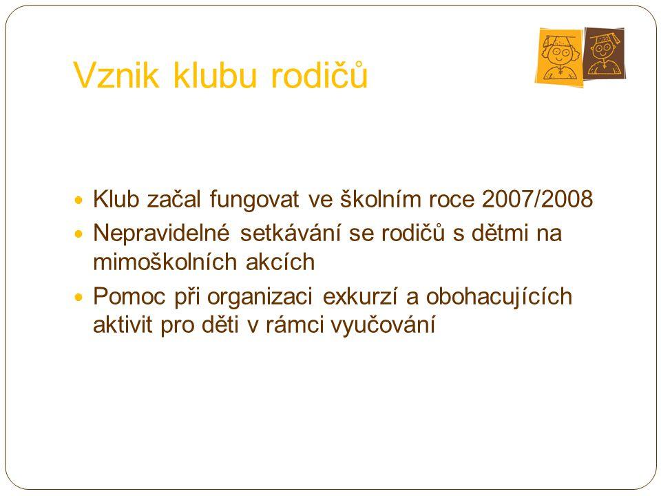 Vznik klubu rodičů Klub začal fungovat ve školním roce 2007/2008
