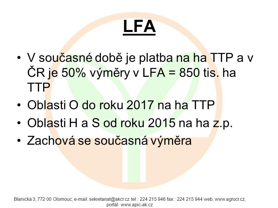 LFA V současné době je platba na ha TTP a v ČR je 50% výměry v LFA = 850 tis. ha TTP. Oblasti O do roku 2017 na ha TTP.