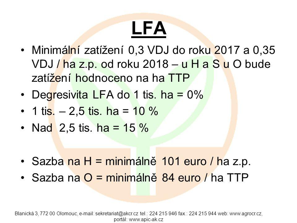 LFA Minimální zatížení 0,3 VDJ do roku 2017 a 0,35 VDJ / ha z.p. od roku 2018 – u H a S u O bude zatížení hodnoceno na ha TTP.