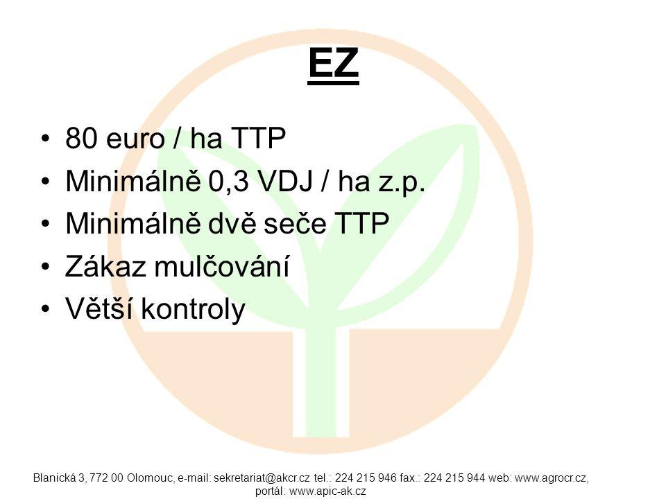EZ 80 euro / ha TTP Minimálně 0,3 VDJ / ha z.p. Minimálně dvě seče TTP