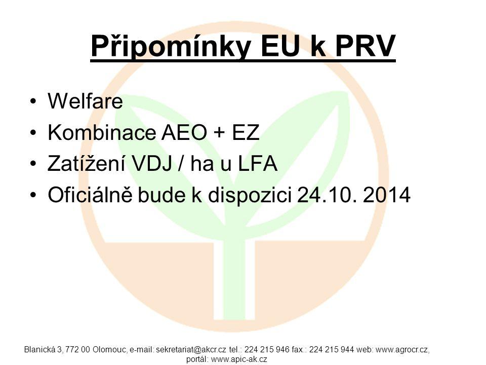 Připomínky EU k PRV Welfare Kombinace AEO + EZ Zatížení VDJ / ha u LFA