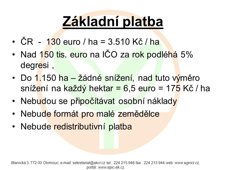 Základní platba ČR - 130 euro / ha = 3.510 Kč / ha
