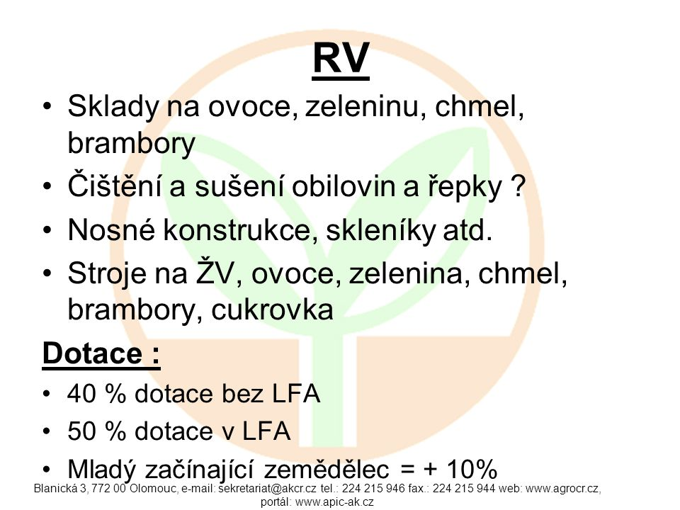 RV Sklady na ovoce, zeleninu, chmel, brambory