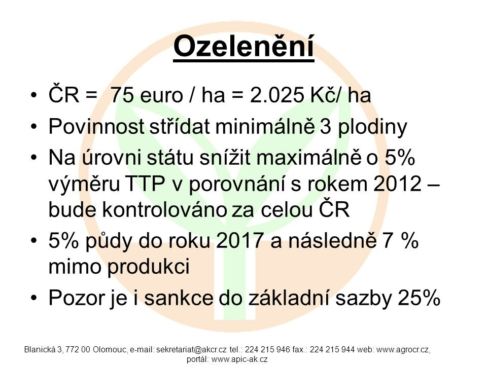 Ozelenění ČR = 75 euro / ha = 2.025 Kč/ ha