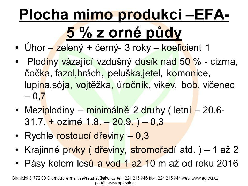 Plocha mimo produkci –EFA- 5 % z orné půdy
