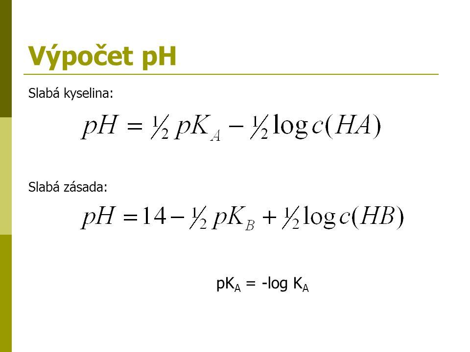 Výpočet pH Slabá kyselina: Slabá zásada: pKA = -log KA