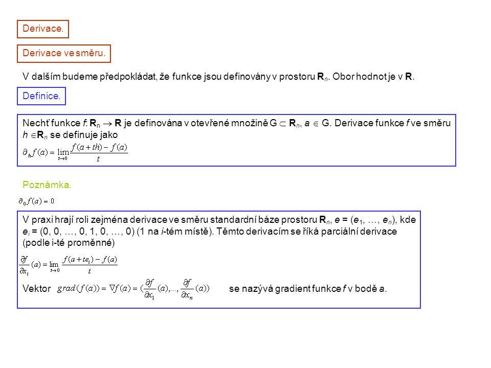 Derivace. Derivace ve směru. V dalším budeme předpokládat, že funkce jsou definovány v prostoru Rn. Obor hodnot je v R.