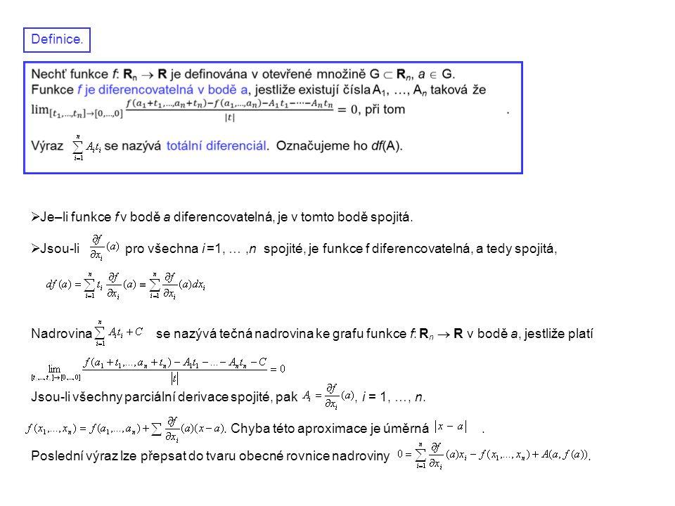 Definice. Je–li funkce f v bodě a diferencovatelná, je v tomto bodě spojitá.