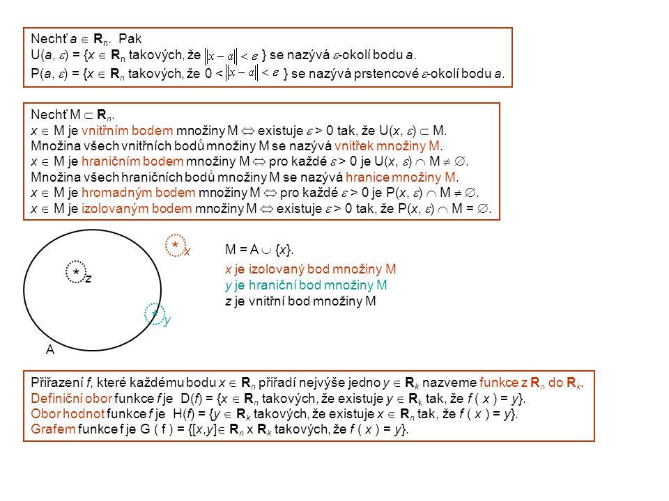 Nechť a  Rn. Pak U(a, e) = {x  Rn takových, že } se nazývá e-okolí bodu a.