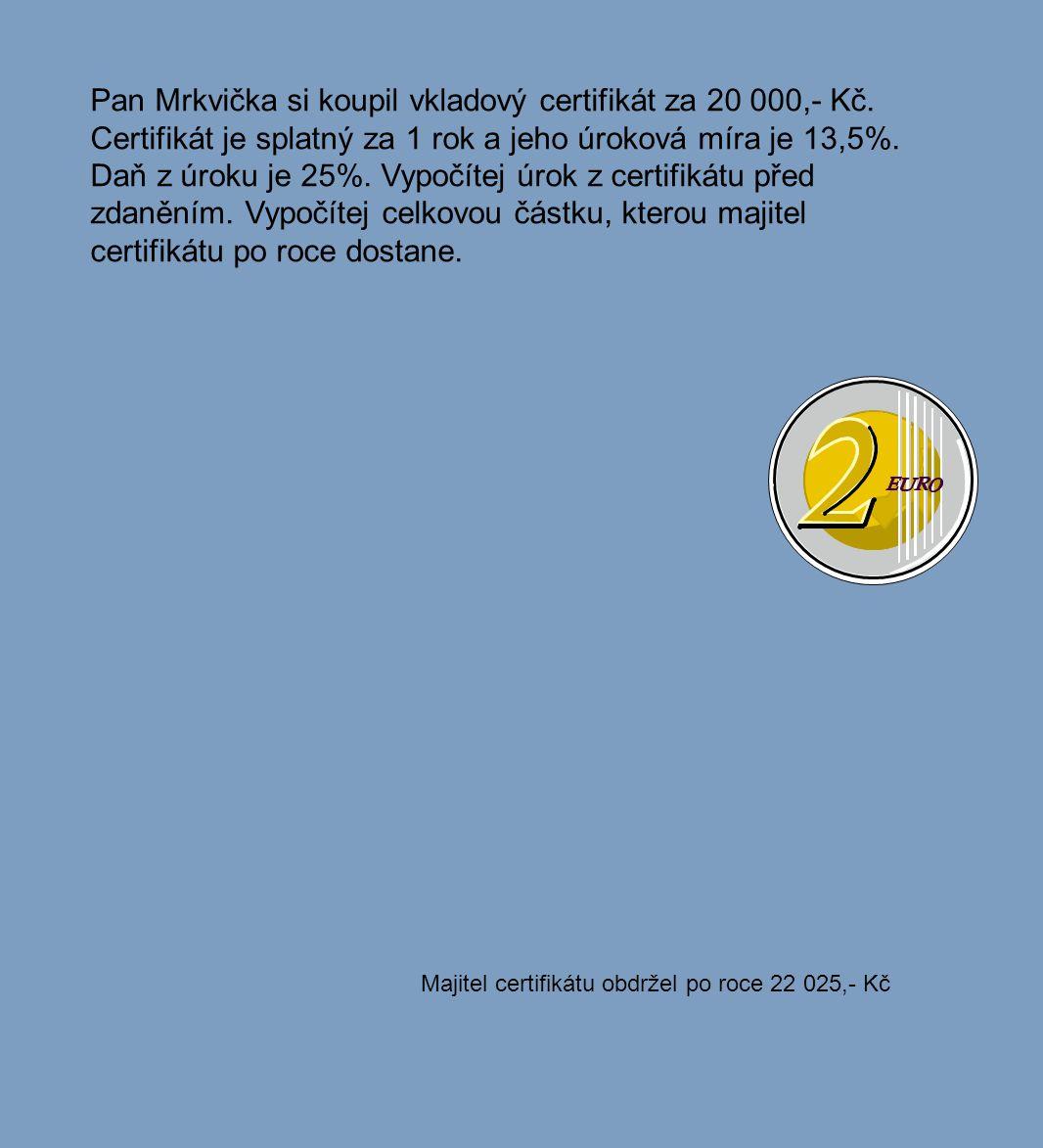 Majitel certifikátu obdržel po roce 22 025,- Kč