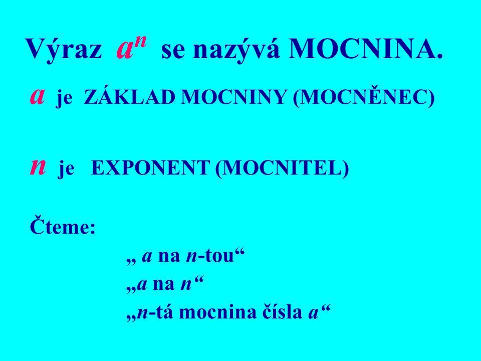Výraz an se nazývá MOCNINA.