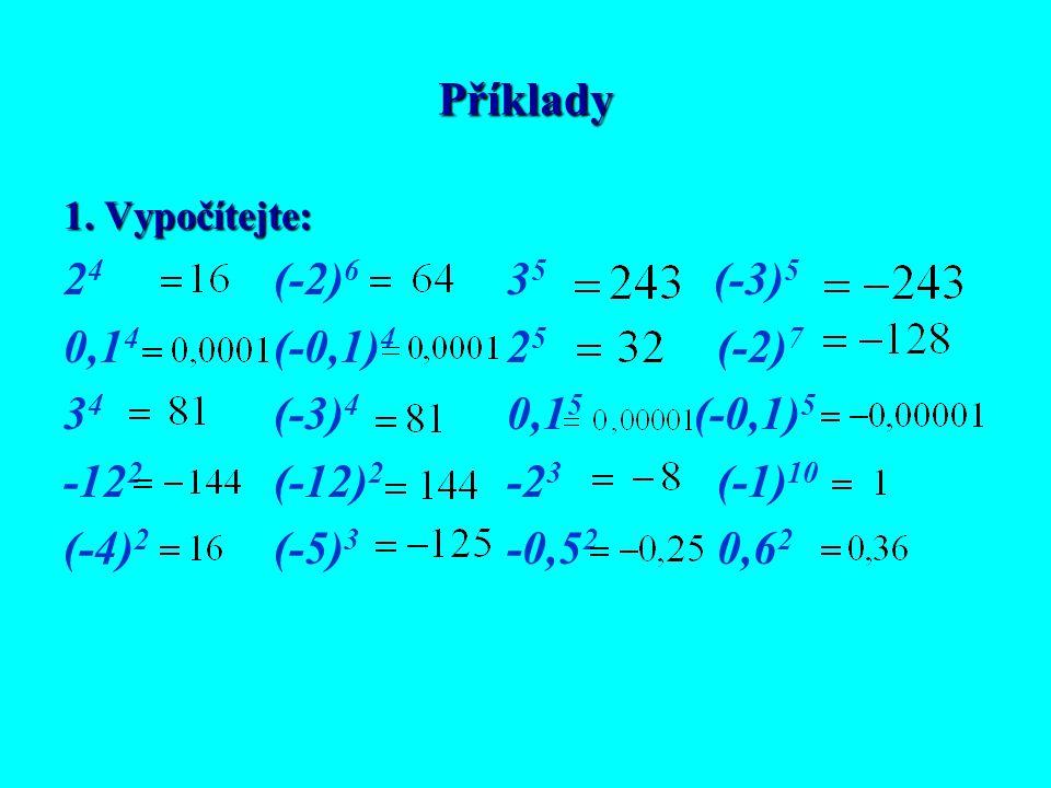 Příklady 24 (-2)6 35 (-3)5 0,14 (-0,1)4 25 (-2)7 34 (-3)4 0,15 (-0,1)5