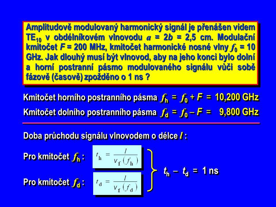 Amplitudově modulovaný harmonický signál je přenášen videm TE10 v obdélníkovém vlnovodu a = 2b = 2,5 cm. Modulační kmitočet F = 200 MHz, kmitočet harmonické nosné vlny f0 = 10 GHz. Jak dlouhý musí být vlnovod, aby na jeho konci bylo dolní a horní postranní pásmo modulovaného signálu vůči sobě fázově (časově) zpožděno o 1 ns