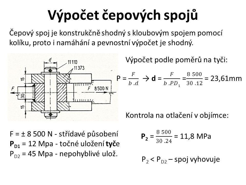 Výpočet čepových spojů