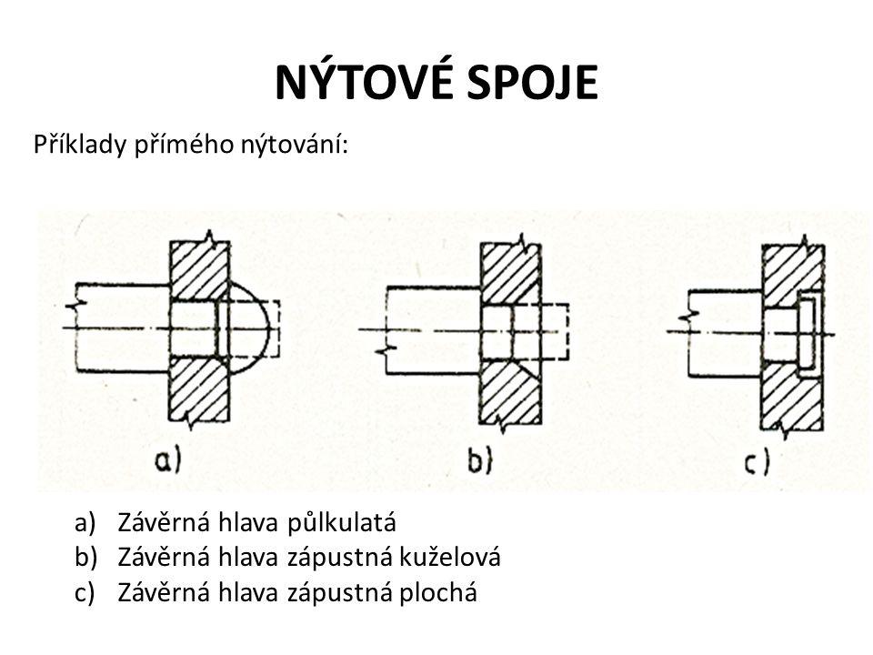 NÝTOVÉ SPOJE Příklady přímého nýtování: Závěrná hlava půlkulatá