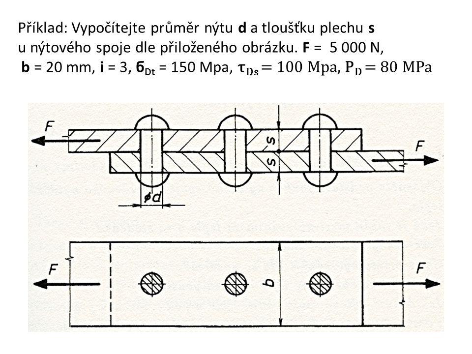 Příklad: Vypočítejte průměr nýtu d a tloušťku plechu s u nýtového spoje dle přiloženého obrázku.