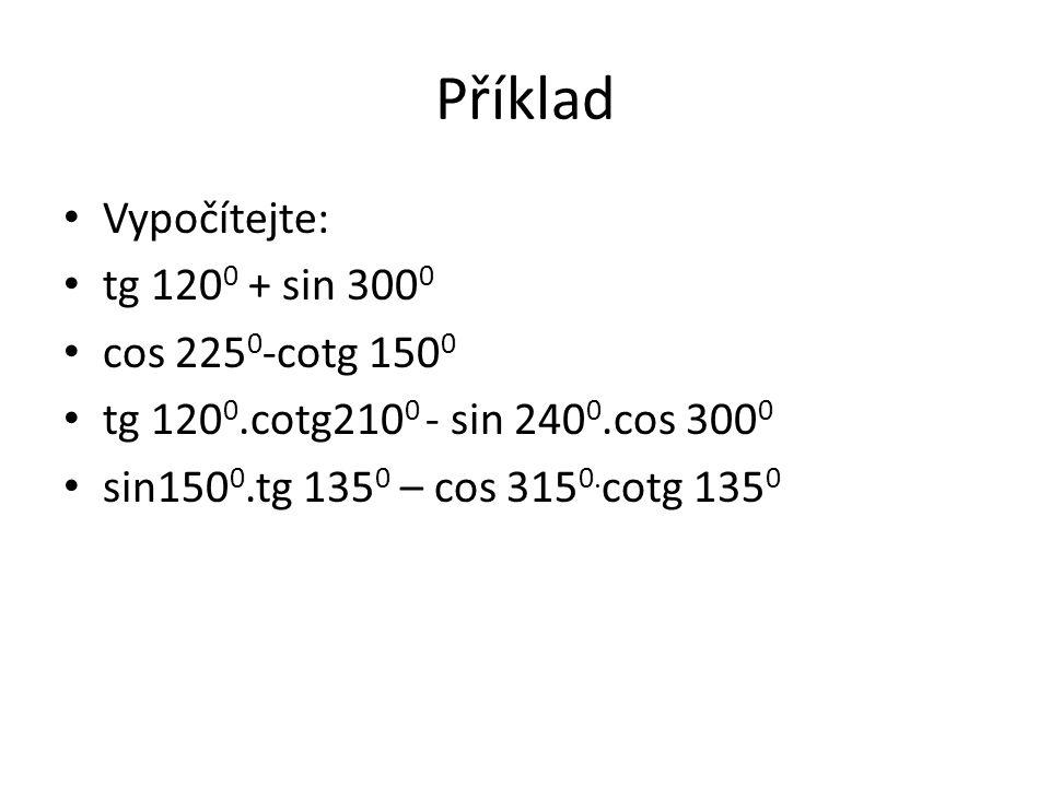 Příklad Vypočítejte: tg 1200 + sin 3000 cos 2250-cotg 1500