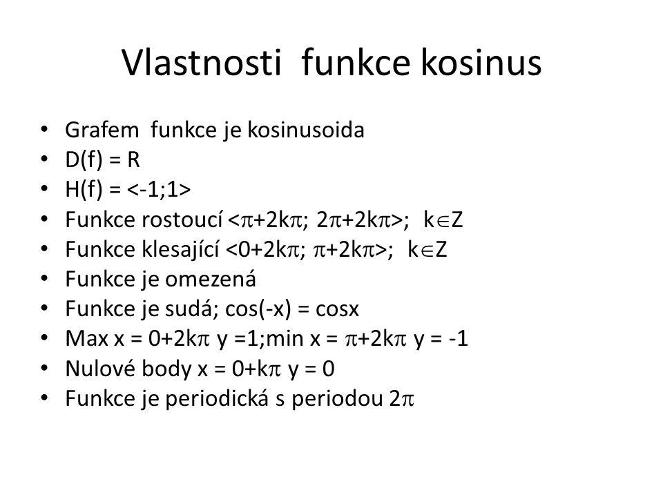 Vlastnosti funkce kosinus