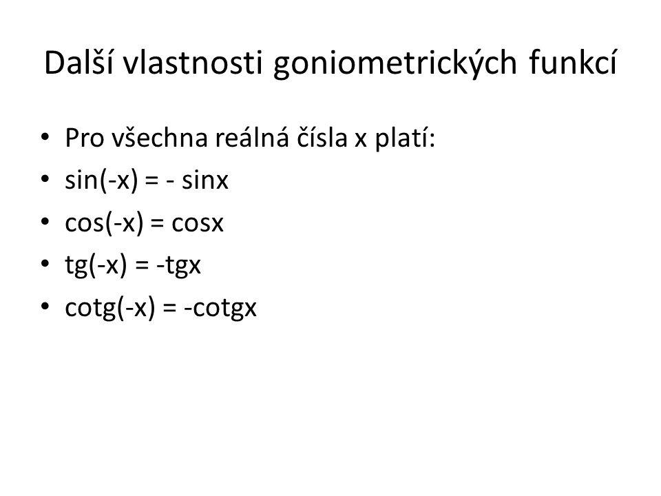Další vlastnosti goniometrických funkcí