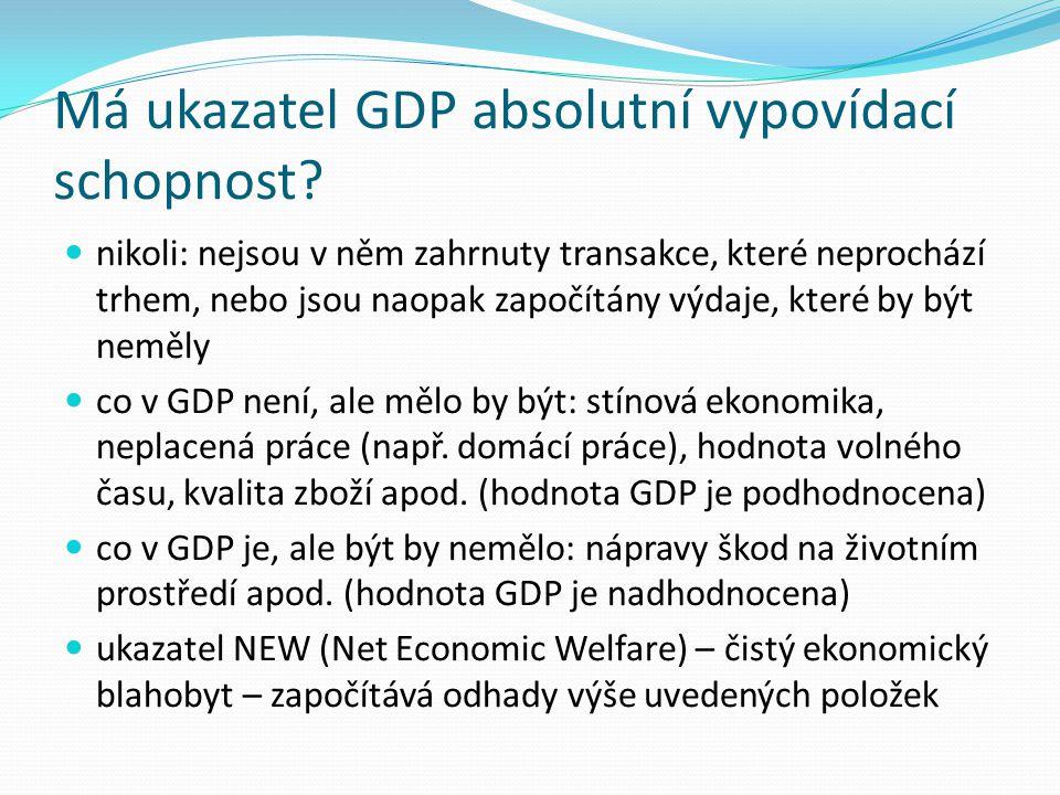 Má ukazatel GDP absolutní vypovídací schopnost
