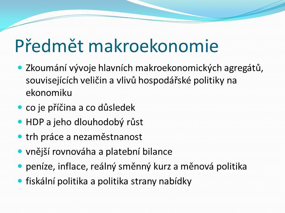 Předmět makroekonomie