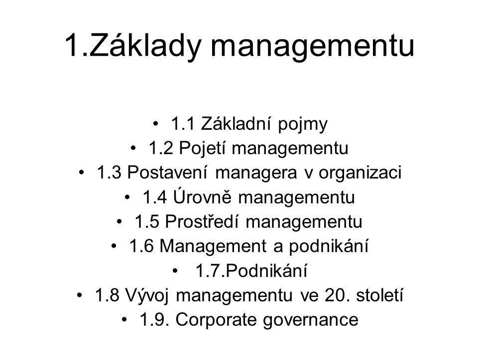 1.Základy managementu 1.1 Základní pojmy 1.2 Pojetí managementu