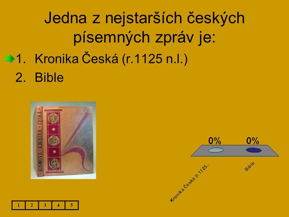 Jedna z nejstarších českých písemných zpráv je: