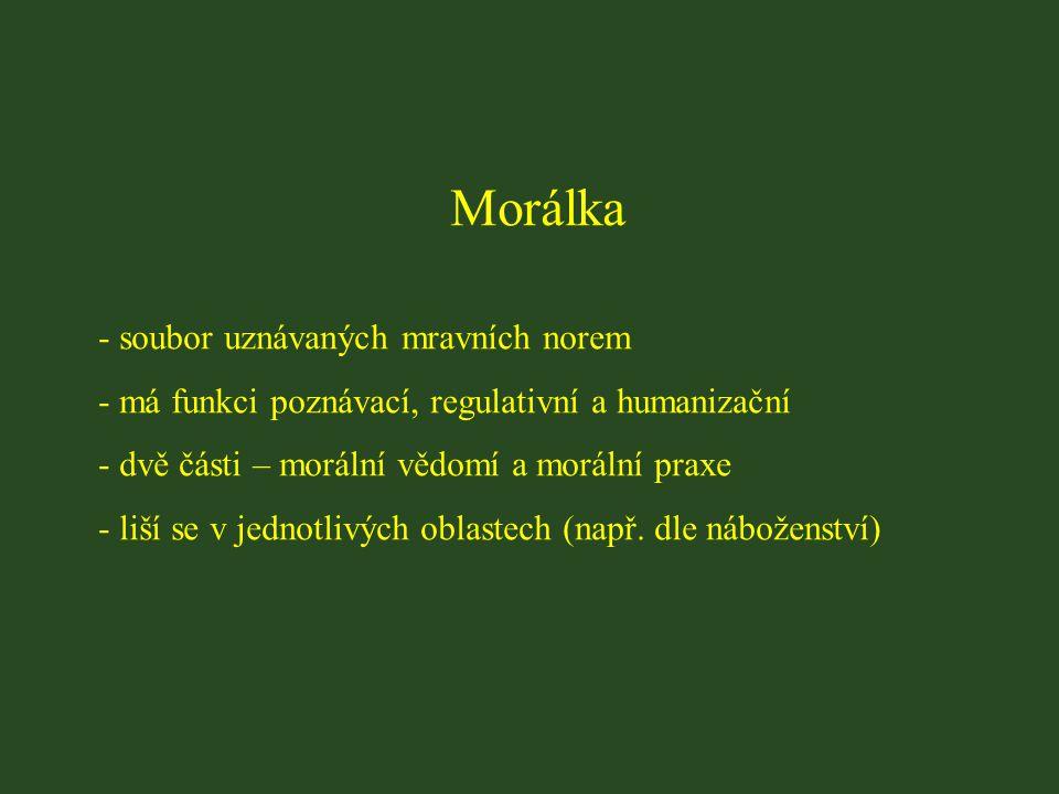 Morálka soubor uznávaných mravních norem