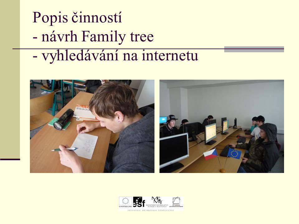 Popis činností - návrh Family tree - vyhledávání na internetu
