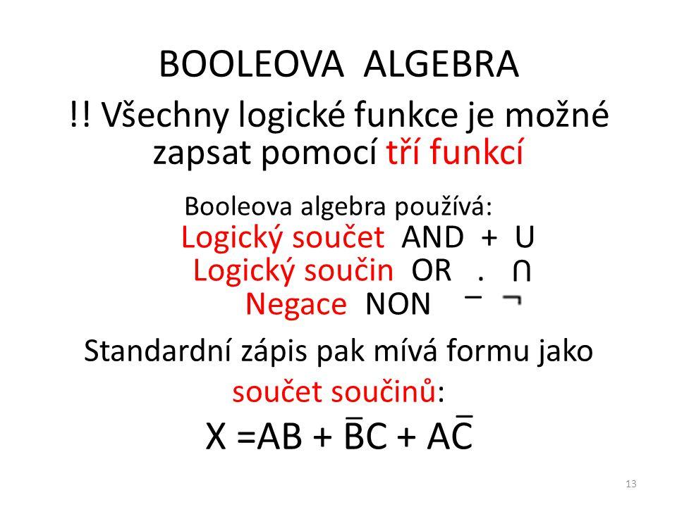 BOOLEOVA ALGEBRA X =AB + BC + AC