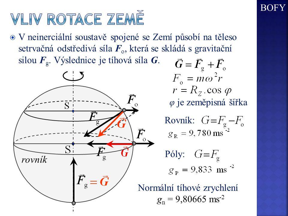 Vliv rotace země rovník BOFY