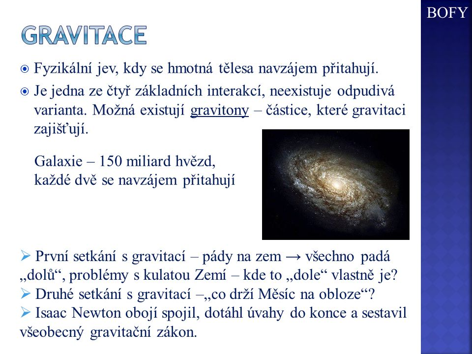 gravitace BOFY Fyzikální jev, kdy se hmotná tělesa navzájem přitahují.