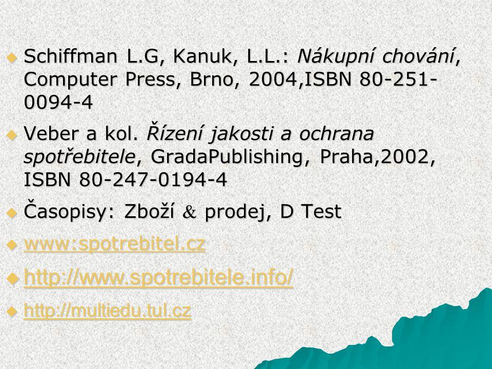 Schiffman L.G, Kanuk, L.L.: Nákupní chování, Computer Press, Brno, 2004,ISBN 80-251- 0094-4