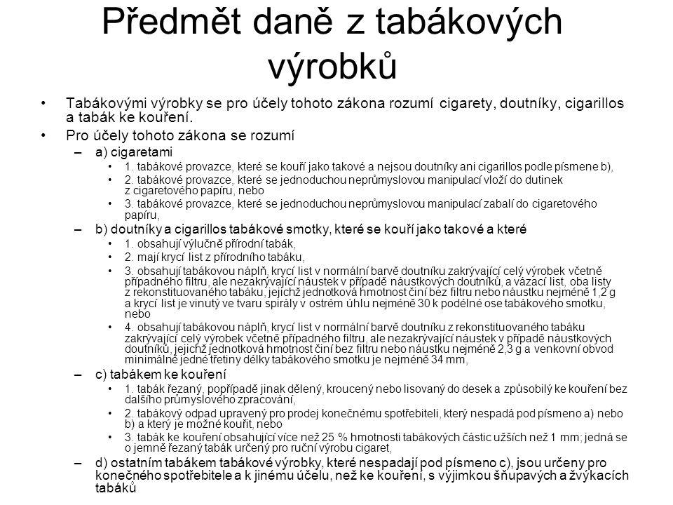 Předmět daně z tabákových výrobků