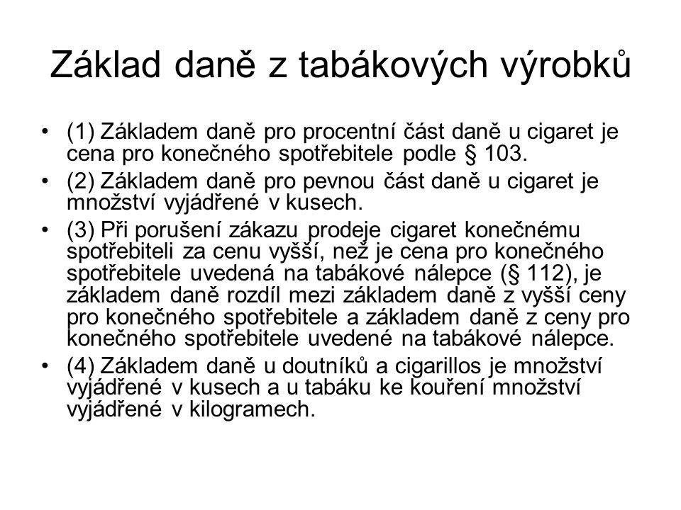 Základ daně z tabákových výrobků