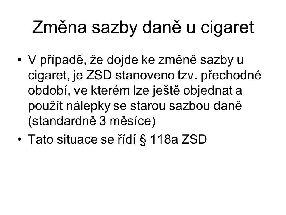 Změna sazby daně u cigaret