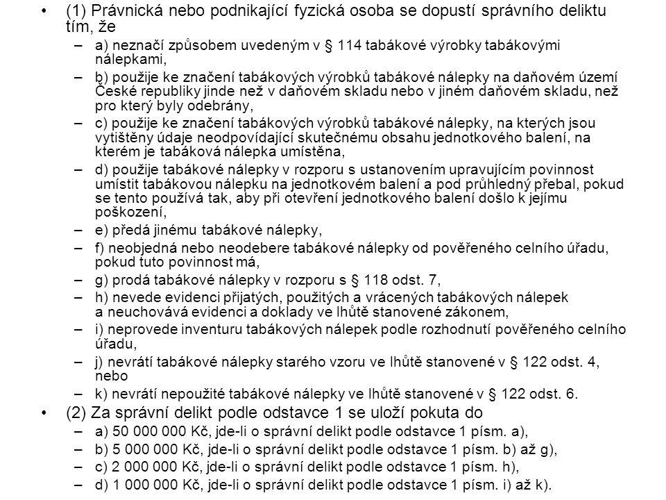 (2) Za správní delikt podle odstavce 1 se uloží pokuta do
