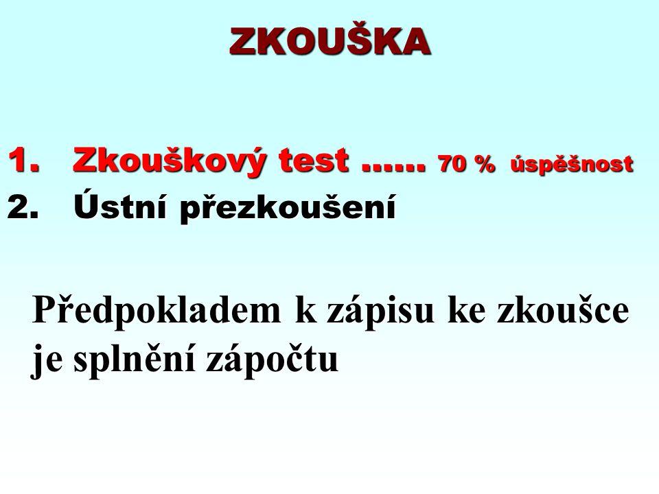 ZKOUŠKA 1. Zkouškový test …... 70 % úspěšnost 2. Ústní přezkoušení