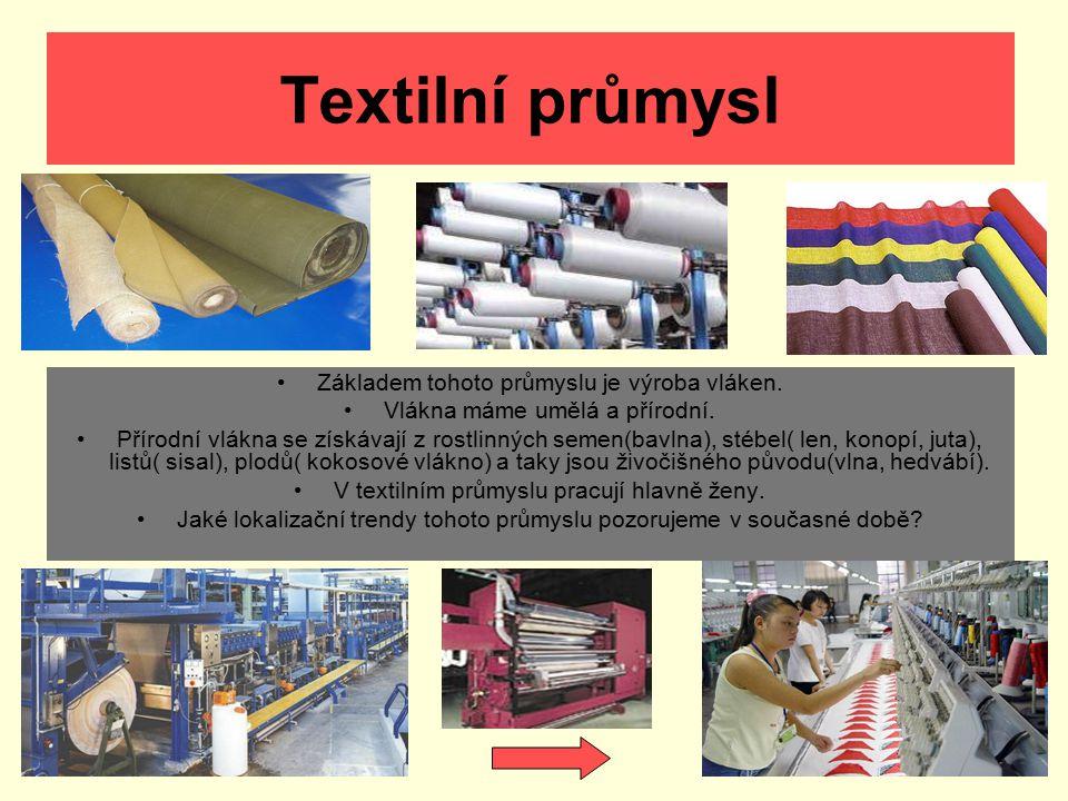 Textilní průmysl Základem tohoto průmyslu je výroba vláken.