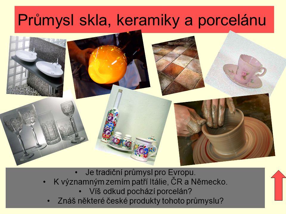 Průmysl skla, keramiky a porcelánu