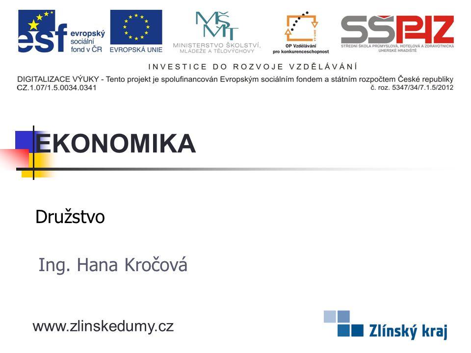 EKONOMIKA Družstvo Ing. Hana Kročová www.zlinskedumy.cz