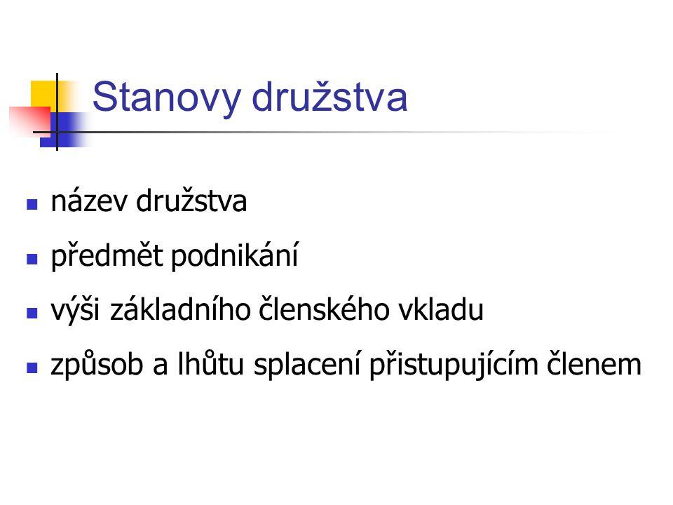 Stanovy družstva název družstva předmět podnikání